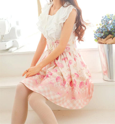 Strawberry Printing Bandage Suspender Dress SP165812