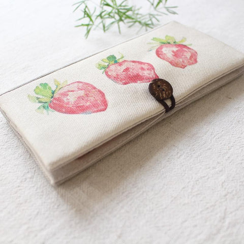 Strawberry Printing Long Canvas Wallet SP1812242