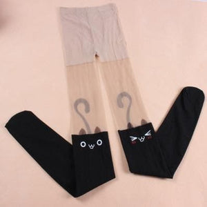 Super Cute Emoji Cats Fake Over Knee Tights SP130020 - SpreePicky  - 3