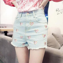 Load image into Gallery viewer, S/M/L Sweet Hearts Embroidery Denim Cowboy Hot Shorts SP152034 Kawaii Aesthetic Fashion - SpreePicky