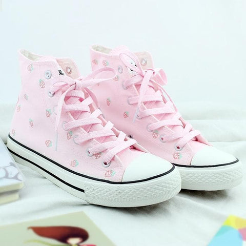 Sweet Pastel Strawberry Canvas Sneakers SP179810