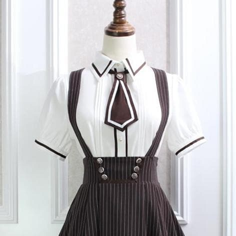 Sweet Pinstripe School Blouse/Suspender Skirt SP1710396
