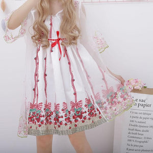 Sweet Strawberry Tulle Suspender Dress/Coat SP1812354