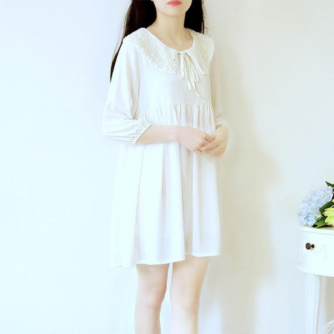 White/Blue Mori Girl Dolly Collar Dress SP166691