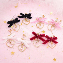 Load image into Gallery viewer, Sweet heart Pearl Bow Velvet Earrings SP179202