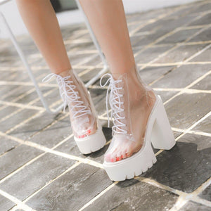 Transparent High-Heeled Platform Boots SP1812449