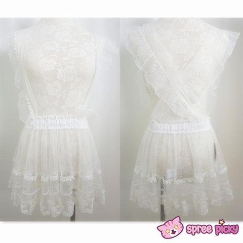 [Apinko Design] Transparent Lace Maid Strap Dress Petticoat Apron SP140952 - SpreePicky  - 2