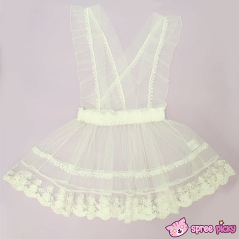 [Apinko Design] Transparent Lace Maid Strap Dress Petticoat Apron SP140952 - SpreePicky  - 3