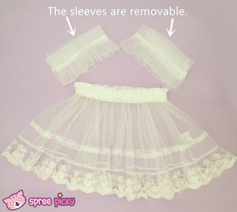 [Apinko Design] Transparent Lace Maid Strap Dress Petticoat Apron SP140952 - SpreePicky  - 4