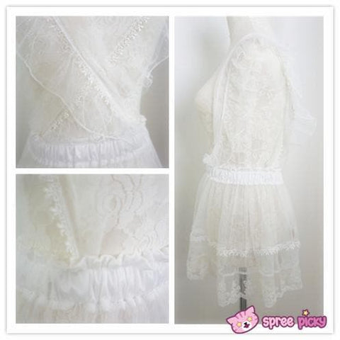 [Apinko Design] Transparent Lace Maid Strap Dress Petticoat Apron SP140952 - SpreePicky  - 5