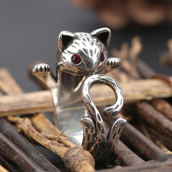 Vintage Kitty Cat Tail Silver Ring SP178873