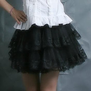 White/Black Lolita Kawaii Cute Lace 3 layers Petticoat Skirt SP130194 - SpreePicky  - 6