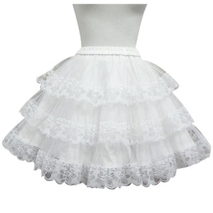 White/Black Lolita Kawaii Cute Lace 3 layers Petticoat Skirt SP130194 - SpreePicky  - 1