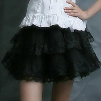 White/Black Lolita Kawaii Cute Lace 3 layers Petticoat Skirt SP130194 - SpreePicky  - 9