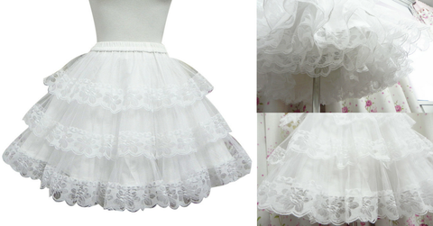 White/Black Lolita Kawaii Cute Lace 3 layers Petticoat Skirt SP130194 - SpreePicky  - 2