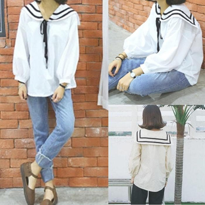 White/Apricot Kawaii Doll Collar Long Sleeve Shirt SP166235