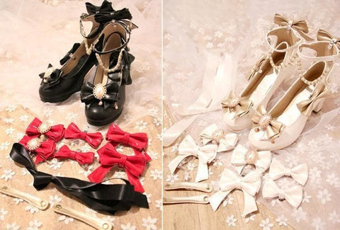WhiteBlackBlue Sweet Bow Lolita High Heel Shoes SP1811897