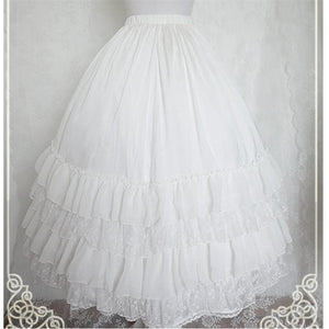 White/Black/Orange Pink Lolita Long Skirt Petticoat SP141087 - SpreePicky  - 4