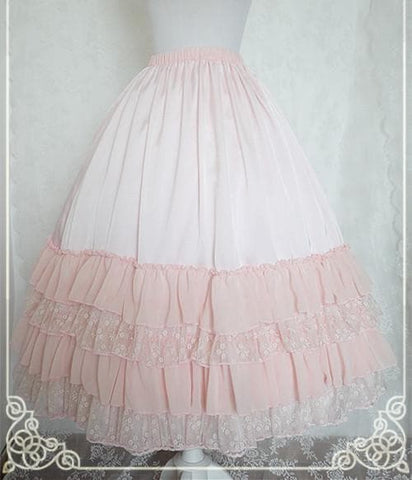 White/Black/Orange Pink Lolita Long Skirt Petticoat SP141087 - SpreePicky  - 5