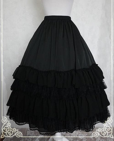 White/Black/Orange Pink Lolita Long Skirt Petticoat SP141087 - SpreePicky  - 6