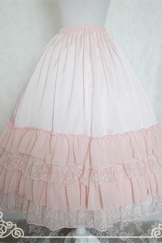 White/Black/Orange Pink Lolita Long Skirt Petticoat SP141087 - SpreePicky  - 3