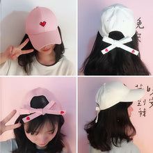 Load image into Gallery viewer, White/Black/Pink Chic Sweet Heart Baseball Hat SP1812336