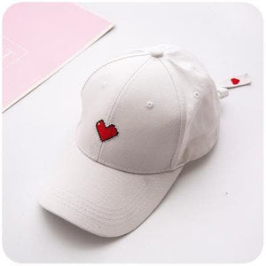 White/Black/Pink Chic Sweet Heart Baseball Hat SP1812336