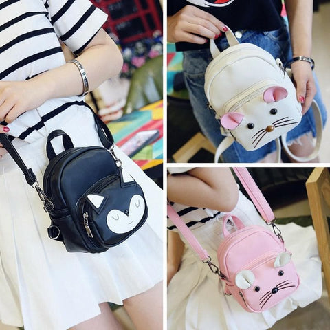 White/Black/Pink Kawaii Mouse/Fox Three-Ways Bag SP178829