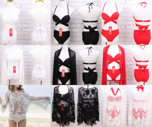 Load image into Gallery viewer, White/Black/Red Sexy Crossed Chest Bikini Set SP1812533