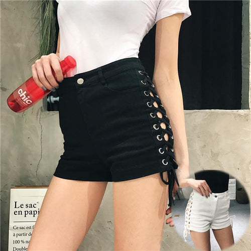 White/Black High Waisted Laced Cross Shorts SP1710351