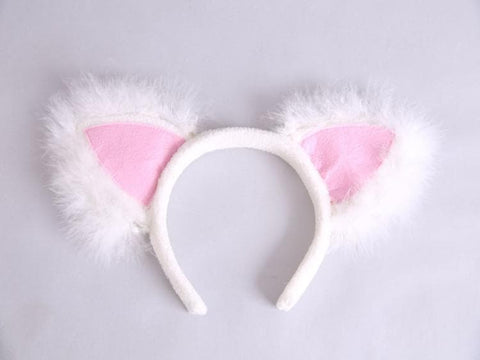 White/Black Kawaii Cat Ear Plush Hairband SP165968