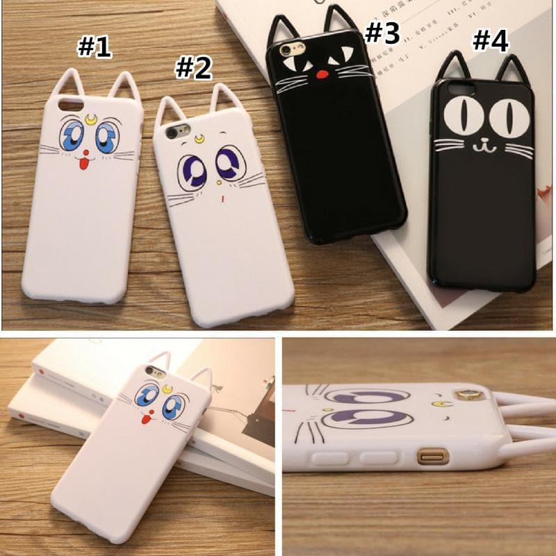 White/Black Kawaii Cat Printing Phone Case SP168218
