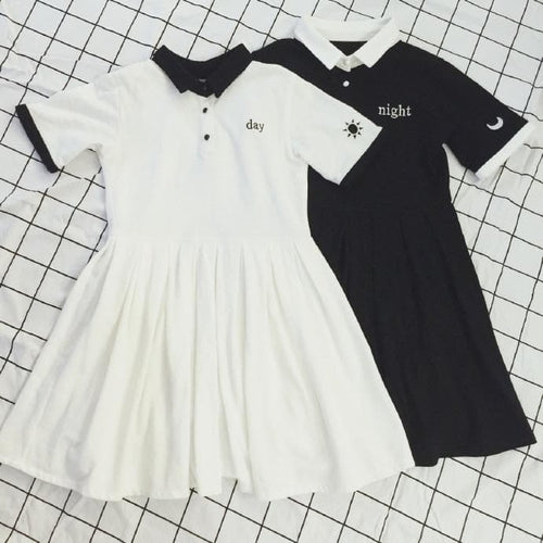 White/Black Leisure Polo Collar Dress SP168392