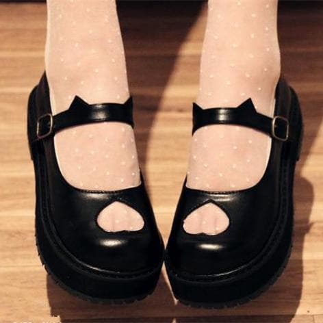 White/Black Lolita Heart Hollow Kitty Ear Shoes SP167763