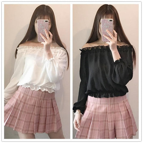 White/Black Lolita Off Shoulder Lace Top SP179123