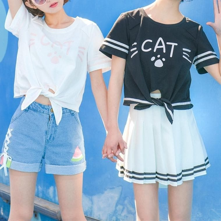 White/Black Loose Short T-Shirt SP179503