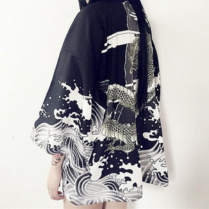 White/Black Harajuku Retro Dragon Kimono Bathrobe SP168615