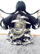 Load image into Gallery viewer, White/Black Harajuku Retro Dragon Kimono Bathrobe SP168615