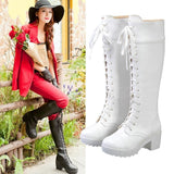 White/Black Round Head Knee-High Boots SP168148