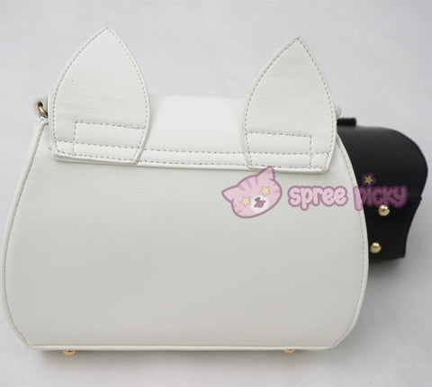 Big Metal Moon-White/Black Sailor Moon Luna/Artemis Shoulder Bag High Quality Version SP152787 - SpreePicky  - 5