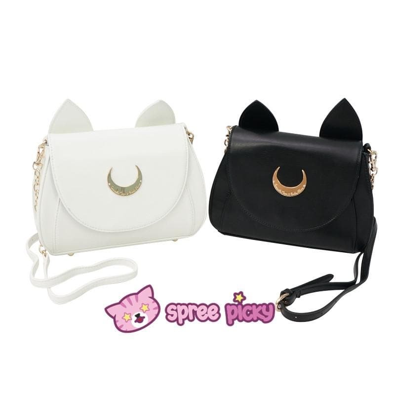 Big Metal Moon-White/Black Sailor Moon Luna/Artemis Shoulder Bag High Quality Version SP152787 - SpreePicky  - 1