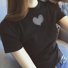 Load image into Gallery viewer, White/Black Heart Cut Out Hollow Short Sleeve Shirt SP165631