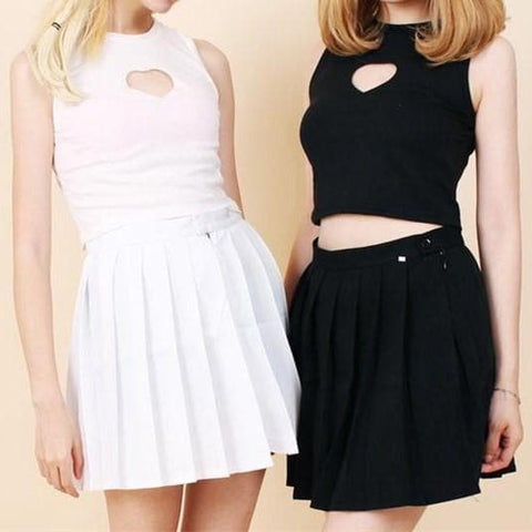 White/Black Sweet Heart Hollow Out Crop Tank Top Shirt SP152480 - SpreePicky  - 1