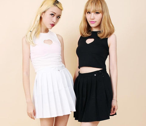White/Black Sweet Heart Hollow Out Crop Tank Top Shirt SP152480 - SpreePicky  - 3