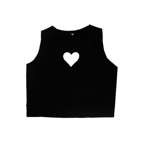 White/Black Sweet Heart Hollow Out Crop Tank Top Shirt SP152480 - SpreePicky  - 4