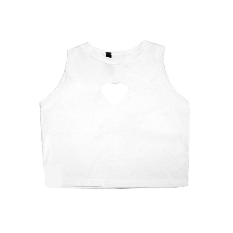 White/Black Sweet Heart Hollow Out Crop Tank Top Shirt SP152480 - SpreePicky  - 5