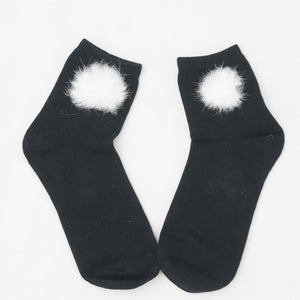 White/Black Winter Fluffy Snow Ball Cotton Socks SP153680 - SpreePicky  - 10