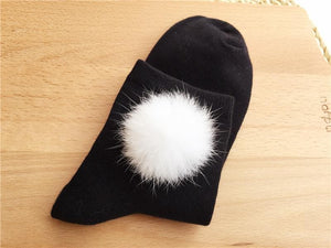 White/Black Winter Fluffy Snow Ball Cotton Socks SP153680 - SpreePicky  - 7