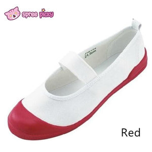 White|Blue|Red J-fashion Cosplay School Uniform Flat Gym Shoes SP151628 - SpreePicky  - 4