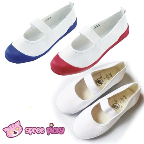 White|Blue|Red J-fashion Cosplay School Uniform Flat Gym Shoes SP151628 - SpreePicky  - 1